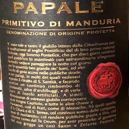 Il Vino del giorno: Papale Linea Oro 2016